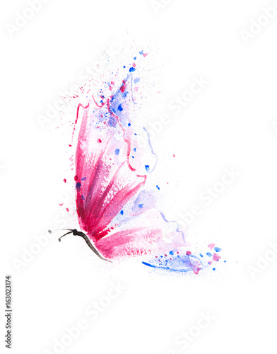 Beautifully hand painted butterfly with vibrant pink, purple  and blue wings