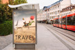 Billboards with advertising of conceptual travel. At city street - 163023755