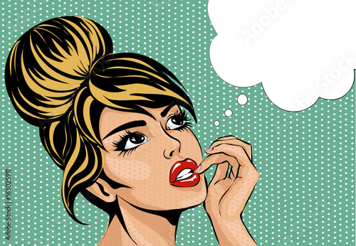 Pop art vintage comic style woman with open eyes dreaming, female portrait with speech bubble vector © sofiapink