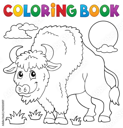 Coloring book bison theme 1
