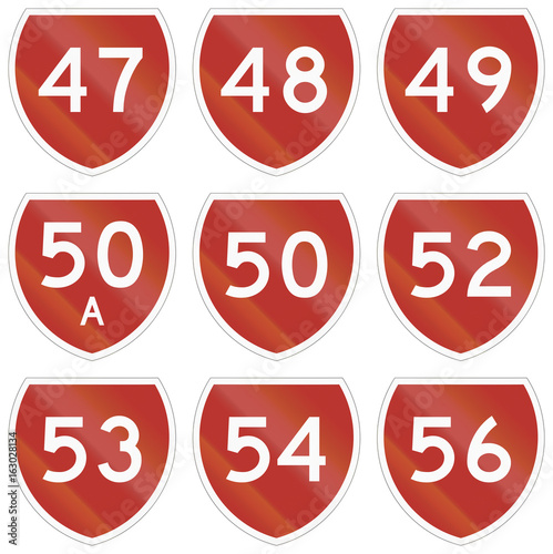 Poster Collection of state highway shields in New Zealand