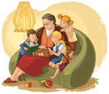 Illustration of grandchildren listening their grandmother reading a book fairy tales