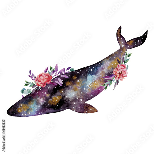 Beautiful watercolor illustration with whale and flowers. - 163033337