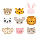 Cute animal faces. A set of vector illustrations of cartoon animal heads including bear, pig, mouse, monkey, panda, lion, tiger, rabbit, cat.