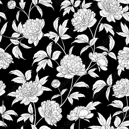 Fototapeta Luxurious peony wallapaper in vintage style. Seamless floral pattern with blossom flowers. Vector illustration.