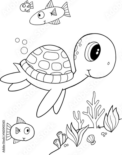 Fotobehang Cartoon draw Cute Sea Turtle Vector Coloring Page