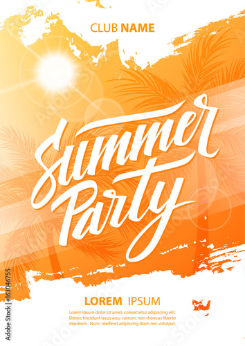 Summer party poster with hand lettering and palm trees. Vector illustration