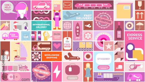 Fotobehang Abstractie Art Delivery Service vector template design