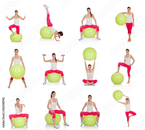 Fit woman in collection of exercise routines on the floor