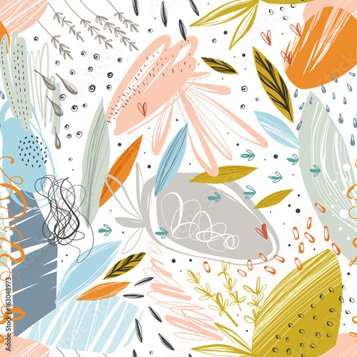 Tapeta Vector abstract seamless pattern with scribble textures and doodle floral elements.