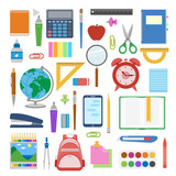 School supplies and items set isolated on white background. Back to school equipment. Education workspace accessories. Infographic elements. Vector illustration. - 163062392