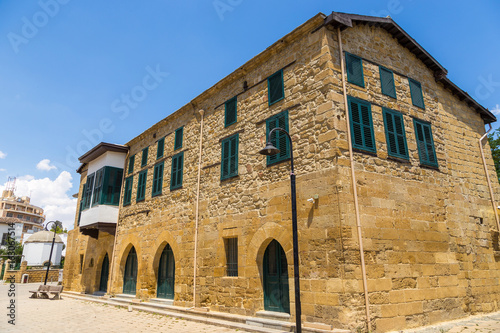 Old building with green shutter in the centre of Nicosia, Cyprus
