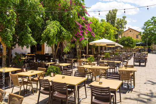 Restaurant under the open sky in the old town of Nicosia, Cyprus
