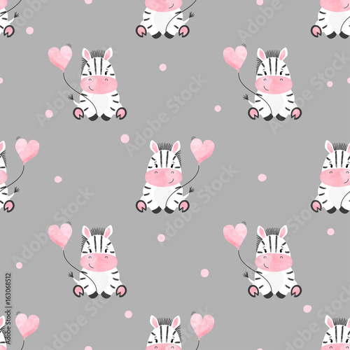 Cute zebra with balloon seamless pattern. Vector kids background. Baby print. - 163068512