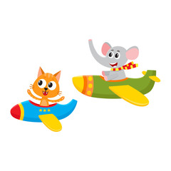 Cute funny animal pilot characters flying on airplane - cat and elephant, cartoon vector illustration isolated on white background. Little baby cat and elephant characters flying on airplane