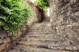 Stone Old Staircase In Perast Village, Montenegro