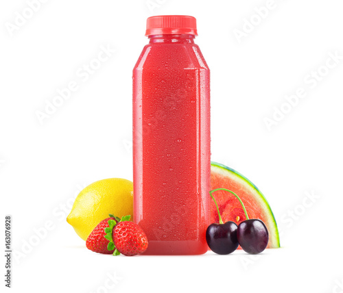 Aluminium Sap Fresh Squeezed Watermelon and Berry Lemonade Juice in Bottle on White Background