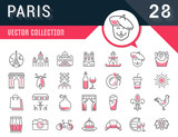 Set Vector Flat Line Icons Paris