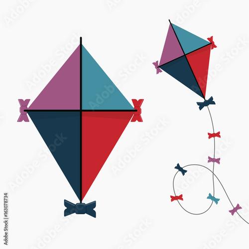 Kite Icon. Vintage retro color. Flat design. Illustration © DiBronzino