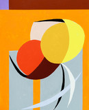 A modernist abstract painting constructed from arcs and circles with warm colours. - 163079143