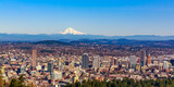 Portland Downtown Cityscape with Mt Hood - 163084185
