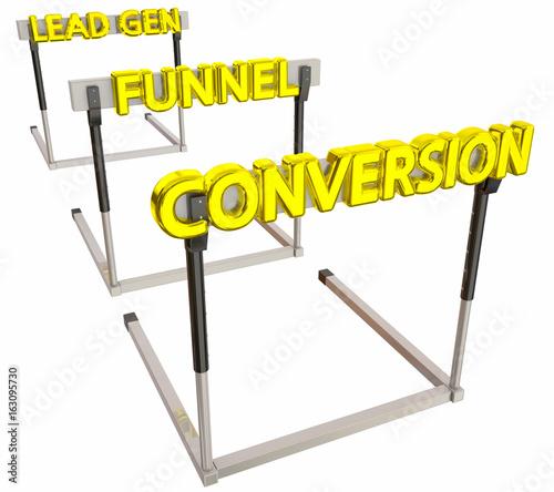 Sales Lead Generation Funnel Conversion Hurdles 3d Illustration