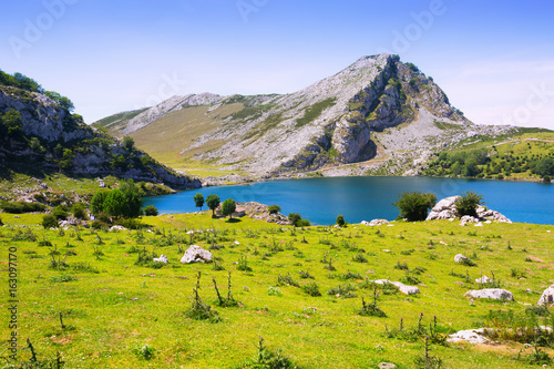 Summer mountains landscape with lake Poster