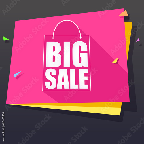 Big sale and special offer origami paper banner. Great bright background for your offers, promotional posters, advertising shopping flyers and discount banners. speech bubble