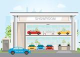 Modern car dealership showroom interior and exterior.