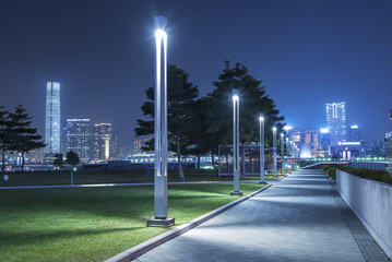 Tamar Promenade of Hong Kong city at night