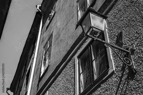 Street light in old town Stockholm. Black and white