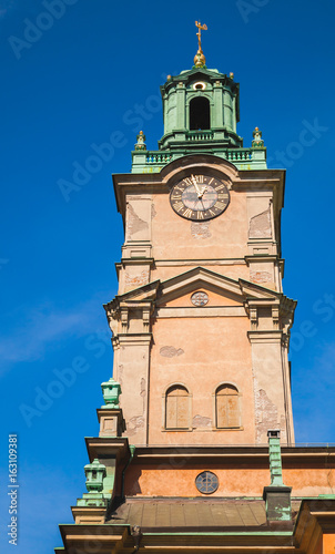 Aluminium Stockholm Storkyrkan, close-up photo of its tower. Stockholm