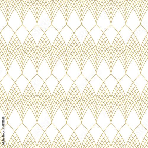 Fototapeta Slim line art deco scales. Seamless vector pattern