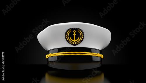 Captain's hat on black background