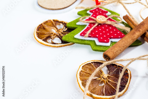 New year ornaments on a white background.