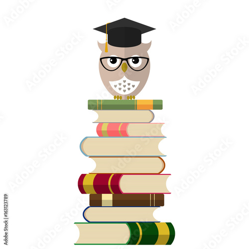 Cute owl in eyeglasses and graduation cap on books. Education concept background