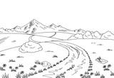 Rural road graphic black white landscape sketch illustration vector - 163125320