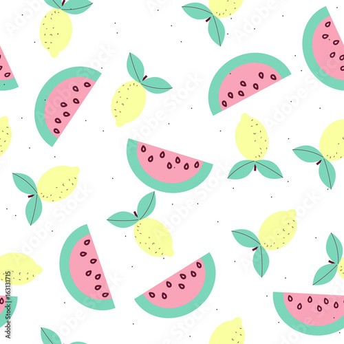 Pastel sweet fruits seamless pattern. Vector illustration. - 163131715