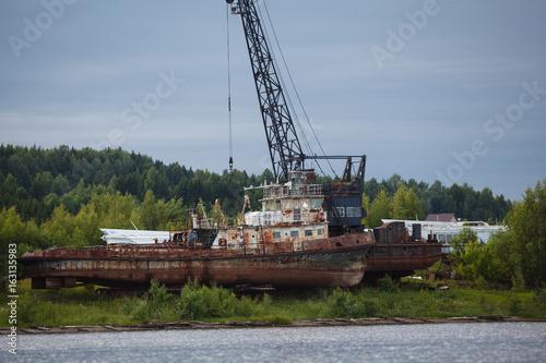 Rusty trawler wreck