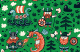Seamless pattern with vikings for design fabric, backgrounds, wrapping paper