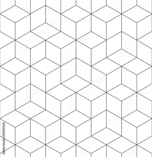 Geometric abstract seamless pattern cube lines background texture - 163145536