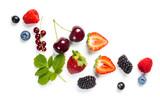 Fresh berries on white background - 163147784
