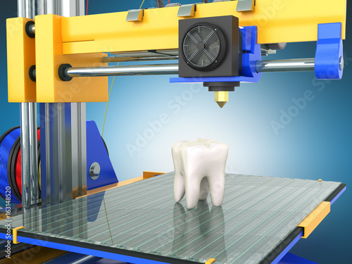 3d tooth printer 3d render on blue background
