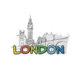 London beautiful sketched icon - 163149754
