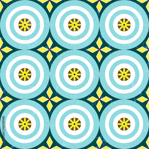 seamless geometric background pattern, with circles, strokes and splashes