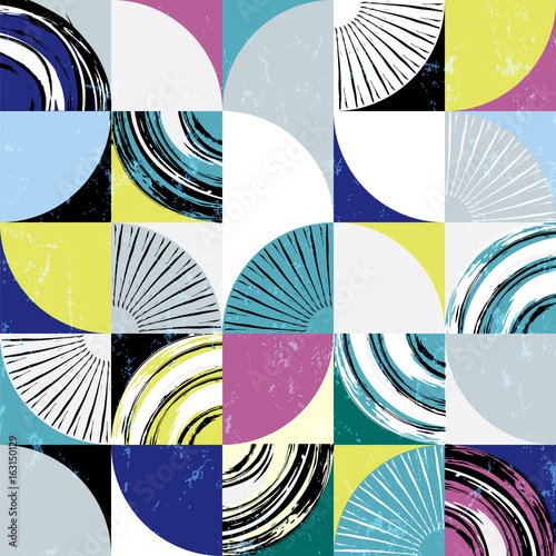 Fotobehang Abstract met Penseelstreken abstract background pattern, with circles, squares, strokes and splashes