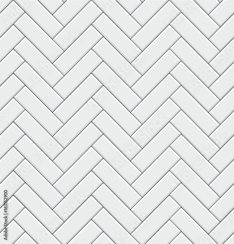 Seamless pattern with modern rectangular herringbone white tiles. Realistic diagonal texture. Vector illustration. - 163152900