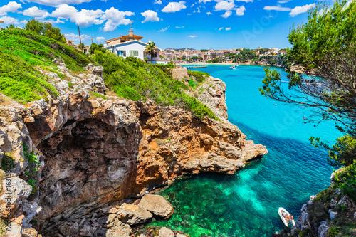Fotobehang Balearic Islands, Majorca coastline with view of Porto Cristo, Spain Mediterranean Sea