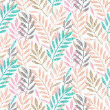 Tropical palm leaves, seamless foliage pattern. Vector illustration. Tropical jungle palm tree background. Blush pink, gold and turquoise background.