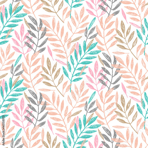Tropical palm leaves, seamless foliage pattern. Vector illustration. Tropical jungle palm tree background. Blush pink, gold and turquoise background.  - 163158973
